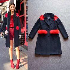 Women Coat New Fashion 2016 Autumn Winter Casual European Style Medium-Long Splice Fur Elegant Thick Woolen Outerwear Coat alishoppbrasil