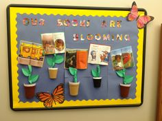 Our books are blooming! Book Review, Bulletin Boards, Bloom, School, Frame, Decor, Fiestas, Picture Frame, Decoration