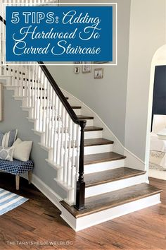 Looking for a staircase makeover, or just want to add hardwoods to give them new life? Check Out 5 Tips: Adding Hardwoods To Curved Staircase by thetarnishedjewelblog.com #staircasemakeover #hardwoodstairs #curvedstaircase #curvedstairs #curvedstair #woodstairs #staircasedesign #staircaserenovation #staircaseremodel #staircase #stairsinspiration #coastalstyle #traditionalstyle #farmhousestyle #stainedstairs Staircase Remodel, Staircase Makeover, Curved Staircase, Staircase Design, Hardwood Stairs, Hardwood Floors, Newel Post Caps, Jacobean Stain, Christmas Staircase