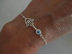Hamsa hand bracelet with evil eye charm on sterling by 19bis, $21.00