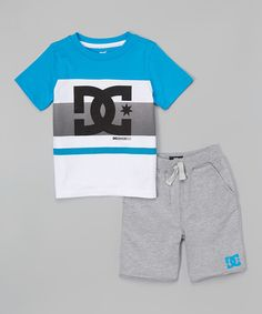 Look at this Blue & White 'DC' Tee & Gray Knit Shorts - Infant, Toddler & Boys on #zulily today!