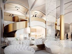 Hotel Club Beijing China. Gold and white luxury style.