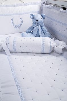 Kit Berço Provençal Nobre Azul - Maison Baby (6 peças)