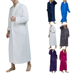 a47997bb8a Pajamas Bathrobe Night Gown Winter Unisex Men Women Warm Solid Sleepwear  Robes  fashion  clothing