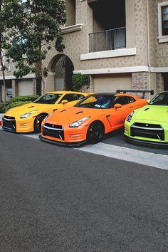 colorful Nissan GTR's