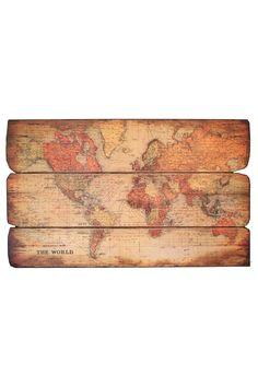 Wood Map Wall Art nursery decor idea, wood wall art, world map, wooden map, rustic