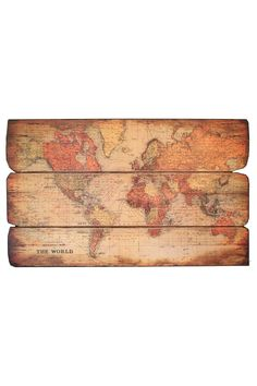 world map wooden pallet wall art by iron trade imports.