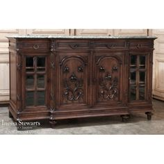 Antique Furniture | Formal Buffets | Antique French Louis XVI Marble Top Walnut Buffet | www.inessa.com