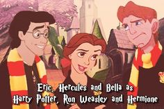 Hogwarts Disneyfied Means Hercules and Belle end up together. Woop sorry beast lol