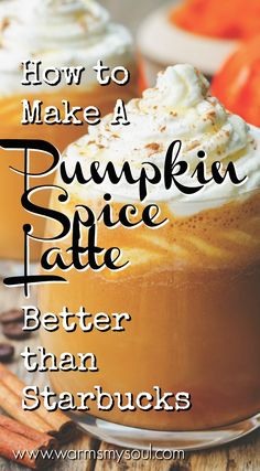 How to Make A Pumpkin Spice Latte Better Than Starbucks - Warms My Soul How to make a pumpkin spice latte better than Starbucks. This easy homemade pumpkin spice latte recipe is delicious, you will definitely want to save this pin. Pin it now! Starbucks Pumpkin Spice Latte, Homemade Pumpkin Spice Latte, Pumpkin Spiced Latte Recipe, Pumpkin Spice Coffee, Pumpkin Recipes, Fall Recipes, Diy Pumpkin, Pumpkin Drinks, Starbucks Coffee