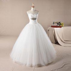 Simple yet elegant sweetheart neckline ball gown floor length wedding dress