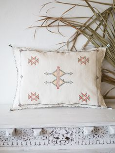 Natural White Mini Lumbar 2 | Moroccan Cactus Silk Cushion – Blush & Ochre Bed Pillows, Cushions, Agave Plant, Cushion Covers, Hand Stitching, Moroccan, Hand Weaving, Cactus, Artisan