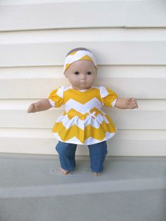 Doll Clothes for American Girl Bitty Baby or Bitty Twin Dolls or Some Other 15 Inch Dolls,  Sunflower Yellow And White Chevron Stripe Outfit on Etsy, $11.95