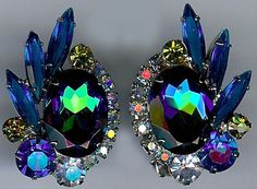 JULIANA VINTAGE BLUE PEACOCK RHINESTONE DAZZLE CLIP EARRINGS