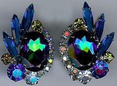 JULIANA VINTAGE BLUE PEACOCK RHINESTONE DAZZLE CLIP EARRINGS
