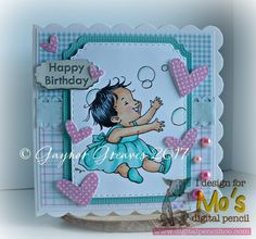 Happy Birthday Me, Birthday Cards, Mo Manning, Spectrum Noir, Dream Team, Bubbles, Frame, Baby, Roses