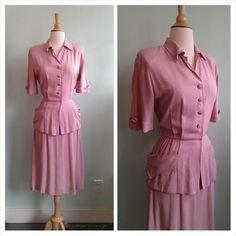 40s Pink Cotton Peplum Dress / Medium / Size 8
