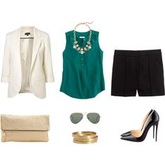 White Blazer. Green Silky Blouse. Gold Chain necklace. Black Flowy Shorts. Black Heels.
