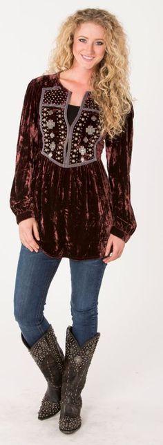 Double D Ranch Fall 2015 Santa Rita Velvet Studded Tunic! Color Options! #DoubleDRanch #PeasantBlouse