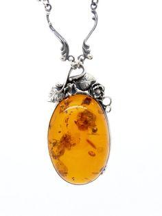 XXL Genuine Baltic Amber & Sterling Silver Necklace 24 Inch - Artisan Necklace - Big Amber Stone - Art Nouveau Antique / Vintage Jewelry at  VintageArtAndCraft