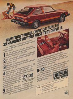 1979 Datsun 310 Car Ad Nissan Cherry Automobile Advertisement