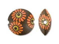 Golem Design Studio Stoneware Lentil Bead - Orange/Tan Flowers on Brown Background