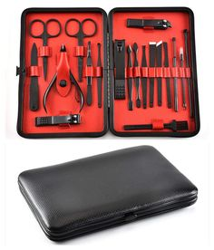 Manicure Pedicure Kit Nail Clippers - 19 Sets of Professional Stainless Steel Manicure Tool Set Horny Remover Perfect Men and Women Nail Tools Fashion Travel Beauty Kit Leber >>> Read more at the image link. (This is an affiliate link) Gold Manicure, Manicure Set, Manicure Tools, Nail Tools, Pedicure Kit, Manicure And Pedicure, House Of Beauty, Beauty Kit, Christmas Nails