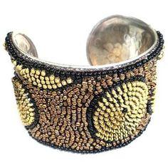 Zipper Beaded Cuff in Gold and Bronze - WorldFinds