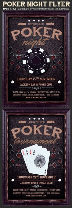 Poker Night #Flyer Template - #Events Flyers Download here:  https://graphicriver.net/item/poker-night-flyer-template/19537637?ref=alena994