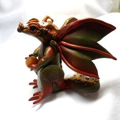 Magic Dragon Sculpture in Polymer Clay by AlohaMoeGifts on Etsy, $75.00