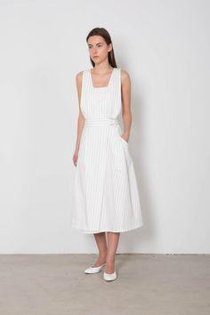 White Pin Striped Wrap Dress F08   Front 2