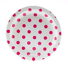 White with Dark Pink Polka Dot Plates - 7 inch- The TomKat Studio Shop