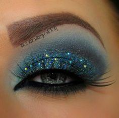 Midnight blue sparkly eye makeup