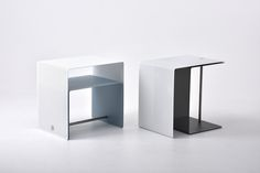 A clever side table design: Layer by Japanese designer Shinya Oguchi. Effectively two connected tables, each constructed from thin, perforated steel sheets, that can be expanded to create a single larger table.