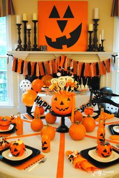 My Parties: Pumpkin Decorating Halloween Party Pumpkin Decorating Halloween Party by The Party Teacher – dining table Halloween Camping, Halloween Activities For Kids, Halloween Party Themes, Cheap Halloween, Halloween Items, Halloween Birthday, Outdoor Halloween, Halloween Party Decor, Scary Halloween