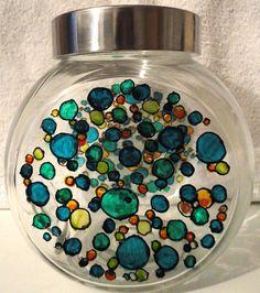 Designer Hand Painted Verity Bubbles Sweetie / Cookie Jar by HandPaintedJar on Etsy