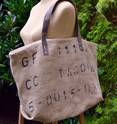 Vintage23 Repurposed Burlap Coffee Bag Tote with Leather Straps