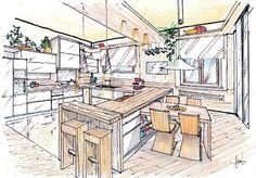 disegno di cucina tutto legno