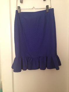 Anthropologie 9h15 royal blue pencil skirt with ruffle, size small
