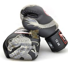 Twins Special Boxing Gloves Dragon Pattern FBGV-23-BK-SV Muay Thai Gear 1