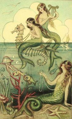 vintage illustration of mermaid sisters by carter flynn
