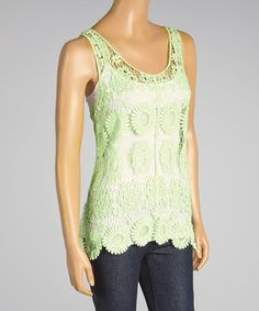 Look what I found on #zulily! Green Floral Crocheted Scoop Neck Tank - Women #zulilyfinds