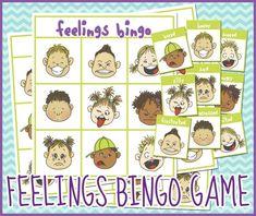 Free Printable Bingo Game about Feelings. Perfect for preschool, kindergarten, or special needs classrooms. Feelings Preschool, Feelings Games, Emotions Activities, Emotions Game, Counseling Activities, Feelings And Emotions, Therapy Activities, Preschool Activities, Preschool Kindergarten