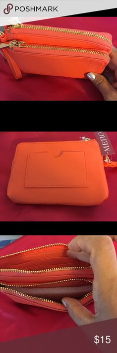 Fashionable Women's Clutches 👛(Wallet) /Brand New This clutches is very fashionable which you can use single or with your purse in black or pouches orange, this clutches is very light for carrying even with this cute color you can use single in your parties with the shoes in this color and same lipstick color, I should mention that this clutches have two zipper pockets , one pockets have three small pockets for cards and the other is  simple👛👠💄 Merona Bags Clutches & Wristlets