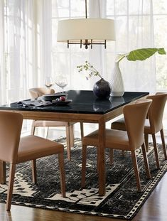 Parsons Black Marble Top/ Elm Base High Dining Table - Crate and Barrel High Dining Table, Teak Dining Table, Dining Chairs, Small Dining, Dining Area, Furniture Showroom, Dining Room Furniture, Dining Rooms, Hanging Curtains