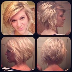 3/15/14 Curled my hair today. Needed a different look. #HOTD #Blonde #blondecurls #curledbob #invertedbob #blondehairdontcare #hair #lookoftheday #c...