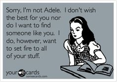 Sorry, I'm not Adele. I don't wish the best for you nor do I want to find someone like you. I do, however, want to set fire to all of your stuff.