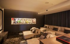 Contemporary Home Theater with Carpet, High ceiling