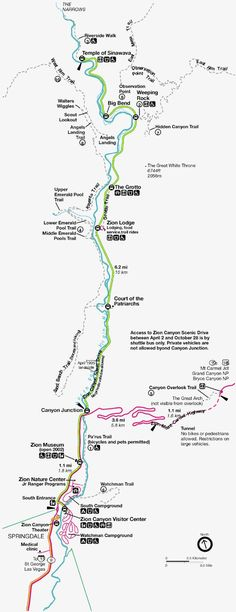 "Climbing Zion Nationwide Park Map- that is the ""scenic path drive"" the place .... ** See more at the picture link"
