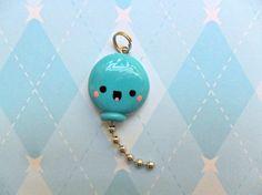 Kawaii Balloon Charm Blue Cute Polymer Clay Charm by JollyCharms, $6.00